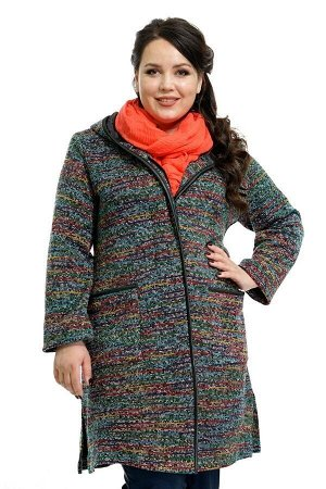 Пальто. Рекомендую, очень красивое пальто. На 56 размер очень большое. Поэтому в размер. Длина изделия 60 размера по спинке - 93 см, ОГ - 140 см, ОБ - 150 см. Пальто с капюшоном меланж с кожаной отдел