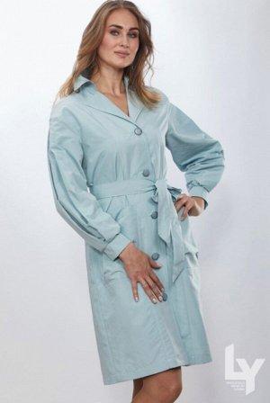 Плащ Голубой, розовый, св. сирень. Длина изделия 105 см.Длина рукава 63 см. Модель на подкладочной ткани.Пояс из основной ткани,в комплекте.