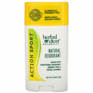 21st Century, Herbal Clear Naturally, Natural Deodorant, Action Sport, 2.65 oz (75 g)
