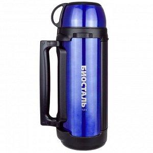 """Термос из нержавеющей стали """"BIOSTAL-АВТО"""" универсальный 1,9л, д11см, h34,5см, с ручкой и ремешком для переноски, с крышкой-чашкой и дополнительной пластиковой чашкой, сохраняет тепло 18 часов, синий"""
