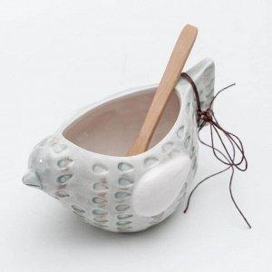Солонка «Курочка», 17?10?9 см, с деревянной ложкой