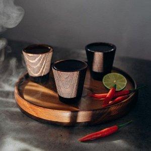 Поднос Magistro, набор рюмок 3 шт, 4 в 1 из текстурированной натуральной сосны, цвет шоколадный