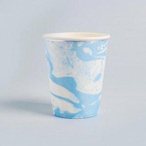 Стакан бумажный «Мрамор», набор 6 шт., цвет голубой