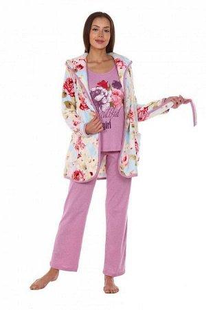 Костюм-тройка Агата. Расцветка: цветы розовый