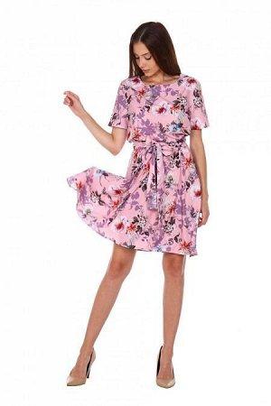 Платье Аэлина (2163). Расцветка: цветы на розовом