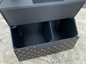 Органайзер Средний Эко Кожа в багажник авто Черный с бежевой строчкой Akuma