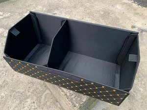 Органайзер Большой Эко Кожа в багажник авто Черный с бежевой строчкой Akuma