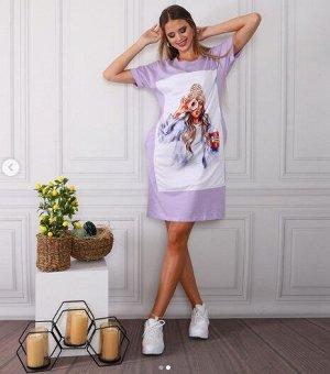Платье-футболка Цвет сиреневый