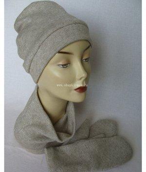 Герда-5 ткань черри (шапка+воротник+варежки) Комплект