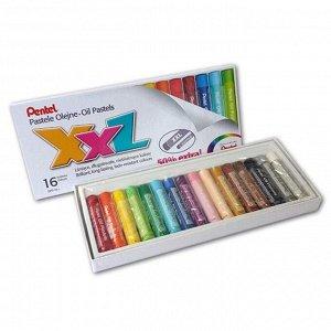 Пастель масляная 16 цветов Pentel XXL, увеличенные мелки