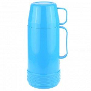 """Термос пластмассовый корпус, узкое горло """"Моно"""" h27,5см, с ручкой, стеклянная колба 1л, цвета микс (Китай)"""