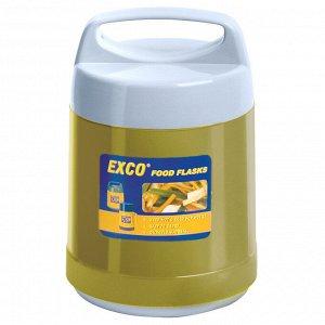 """Термос из нержавеющей стали """"FOOD"""" с широкой горловиной 0,8л, стеклянная колба, крышка с пластмассовой ручкой, сохраняет тепло 6 часов, """"EXCO"""" (Китай)"""