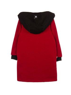 Платье Платье с длинным рукавом, в горловине и рукавах контрастные манжеты. Спереди стильный принт со стразами. Спинка удлиненная. В боковых швах карманы. По бокам разрезики. Изготовлено из петельчато