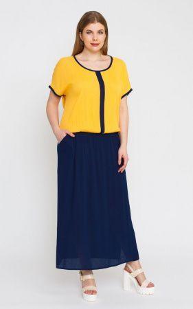 Платье Желтый, белый, зеленый 50,52,54.56 платье с имитацией блузы и юбки., чуть ниже линии талии - эластичная резинка, позволяющая создать комфортный напуск. вискоза 100%