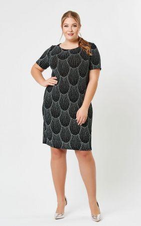 Платье Черный кружево, черный. Модное платье полуприталенного фасона, короткими рукавами и полукруглой горловиной. Модель выполнена из оригинальной принтованой ткани, декорированной глиттером с легким