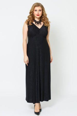 Платье Черный. Состав — вискоза 30%, полиэстер 65%, лайкра 5% Длина — 132. Длинное платье на широких бретелях, с глубоким V-образным вырезом горловины. Завышенная линия талии с небольшой сборкой, созд