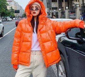 Зимний пуховик,оранжевый