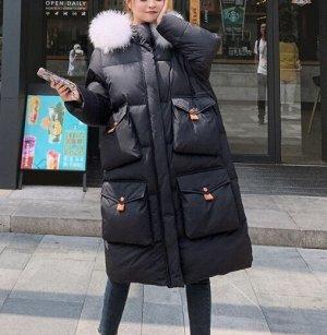 Зимний пуховик,черный