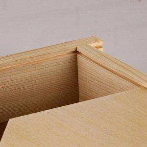 """Коробка подарочная 36?28?9 см деревянная пенал """"Домик"""", выдвижная крышка, МАССИВ"""
