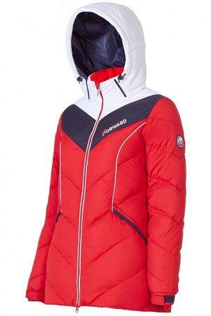Куртка пуховая женская (красный/белый)