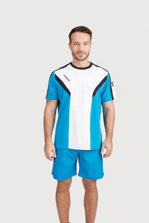 Футболка короткий рукав мужская (голубой/белый)