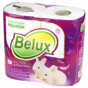 """Туалетная бумага 3-х слойная """"Belux"""" 18м, 150 отрывных листа 11,5х9,5см, 4 рулона в упаковке, с перфорацией и тиснением, сырье - 100% целлюлоза, белый (Россия)"""