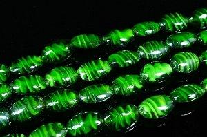 Бусины из муранского стекла овал 16*24мм зеленые