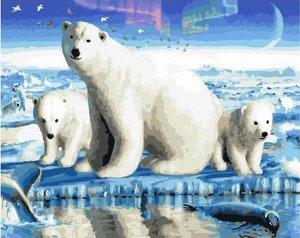 """Набор живописи по номерам 40х50см """"Полярная медведица с потомством"""""""