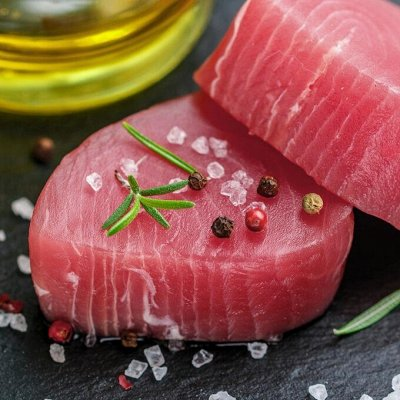 Кальмар 129 рублей за 1 кг… Мидии! Палтус! Креветка! — Стейки и медальоны тунца! — Рыбные