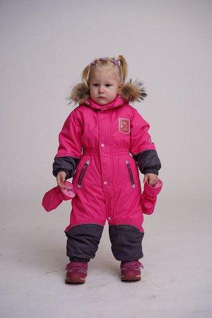 Комбинезон детский (варежки) ---Розовый-серый