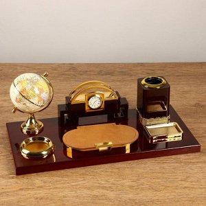 Набор настольный 6в1 (блок д/бумаг, подаст. д/печати, карандашница, часы, визитница,глобус)