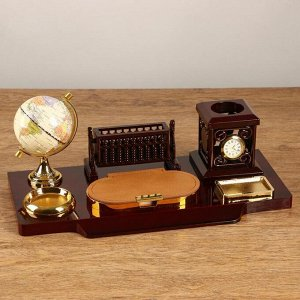 Набор настольный 6в1 (блок д/бумаг, подаст. д/печати, карандашница, часы, визитница,глобус)   511393