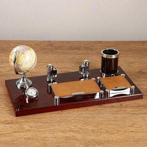 Набор настольный 6в1 (2 блока д/бумаг, карандашница, часы, визитница,глобус)