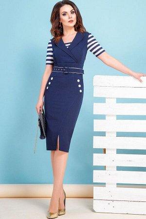 Платье 71% полиэстер 23% вискоза 6% спандекс Рост: 164 см. Элегантное и очень женственное платье в морском стиле, имитирующее комплект, состоящий из сарафана и блузки. Платье прилегающего силуэта, дли