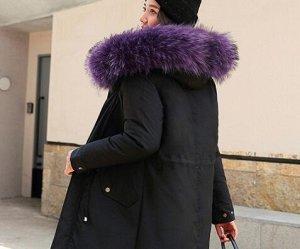 Зимняя парка, фиолетовый мех