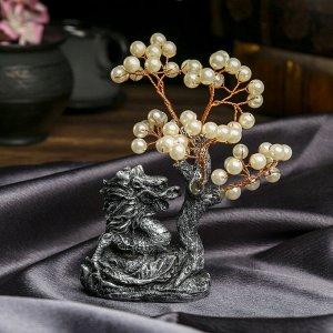 """Сувенир """"Денежное дерево с драконом"""" 48 жемчужин 15х9х5 см"""