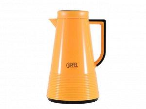 8374 GIPFEL Термос-кофейник IZABEL 1000мл со стеклянной колбой. Материал: стекло, пластик. Цвет: желтый