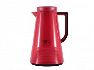 8373 GIPFEL Термос-кофейник IZABEL 1000мл со стеклянной колбой. Материал: стекло, пластик. Цвет: красный