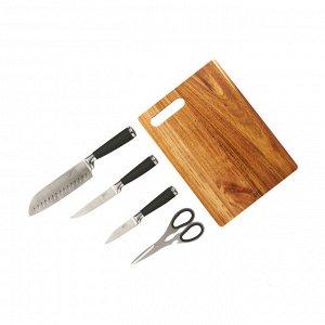 3259 GIPFEL Набор из 5 пр. (доска разделочная 31х22х1,5см, нож поварской, нож универсальный, нож для чистки овощей, ножницы). Материал: пластик, сталь 3Cr13.