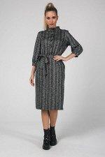 Платье Аяна №1.Цвет:т.серый/елочка