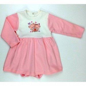 Боди-платье 5139/12 (молочно-розовый, рисунок)