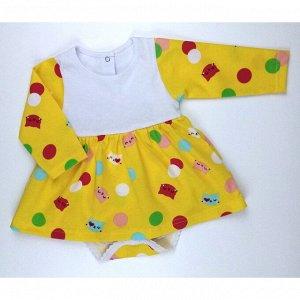 Боди-платье 5139/8 (желтый с кошками)