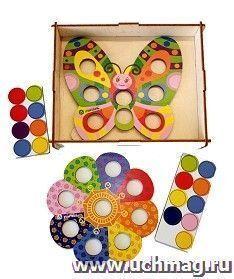 """Игра-мозаика """"Бабочка с Цветочком"""". Комплектация:деревянная коробка для хранения - 1 шт, цветная основа мозаики - 2 шт, комплект кругов"""