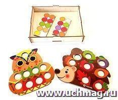 """Игра-мозаика """"Совушка и Ёжик"""". Комплектация:деревянная коробка для хранения - 1 шт, цветная основа мозаики - 2 шт, комплект кругов"""