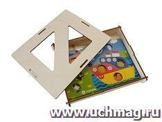 """Игра-мозаика """"Веселое путешествие"""". Комплектация: деревянная коробка для хранения - 1 шт, цветная основа мозаики - 2 шт, комплект кругов"""