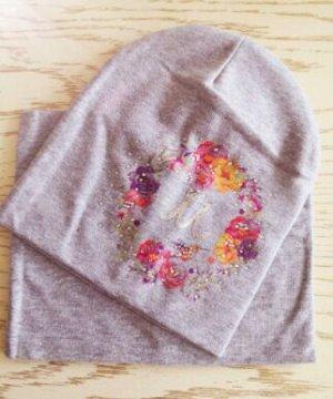 Набор шапка + снуд. Цвет серый меланж