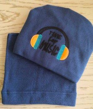 Набор шапка + снуд, цвет синий джинс