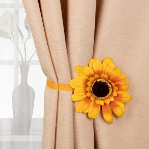 Подхват для штор «Подсолнух», d = 12,5 см, цвет жёлтый