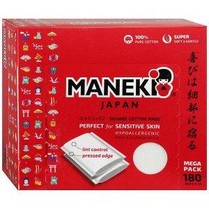"""Подушечки ватные косметические прямоугольные с пресс линиями """"Maneki"""" Lovely, в коробке"""