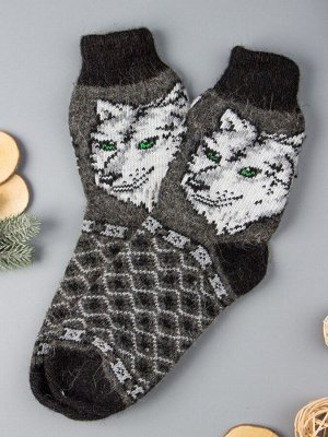 Носки шерстяные мужские, волк с зелеными глазами, темно-серый (размер универсальный)